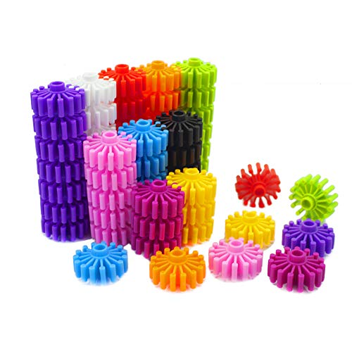 (RAINBOW TOYFROG Gears Interlocking Building Set,Manipulatives Building Kit with Tote 120 Pcs - Occupational Therapy - 10 Colors- Educational)