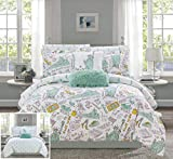 Chic Home Battery 9 Piece Reversible Comforter Set New York Inspired Printed Design Bed in a Bag - Sheet Set Decorative Pillows Shams Included, Full Size, Green