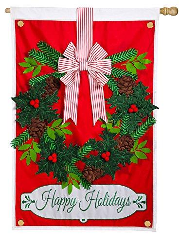 Estate-Sized Evergreen Holiday Wreath Applique Flag, 36 x 54