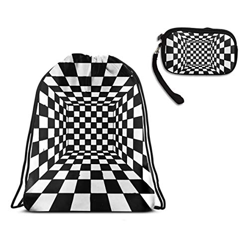 Trippy Checkerboard Drawstring Backpack Gym Rucksack Shoulder Bags