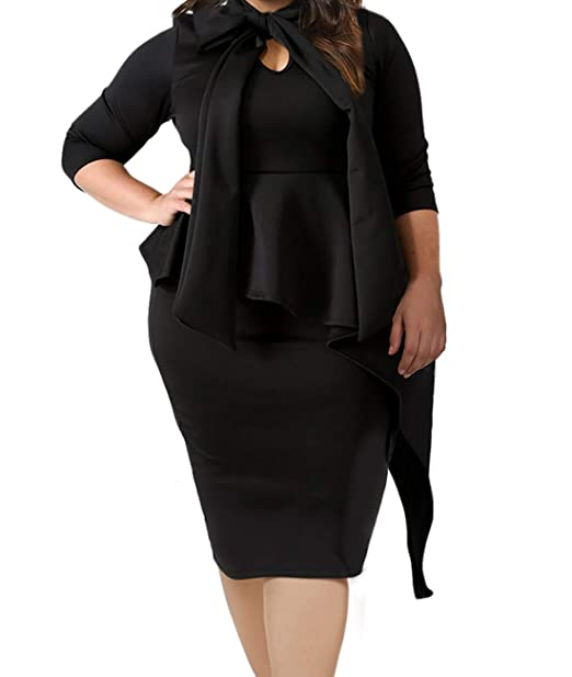 LALAGEN Women\'s Plus Size Long Sleeve Peplum Tie Neck Bodycon Pencil Midi  Dress