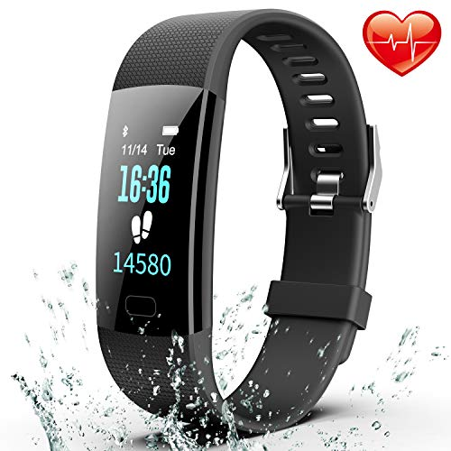 Fitness Tracker, Colorful Activity Tracker Watch with Heart Rate Monitor, Pedometer IP67 Waterproof Sleep Monitor Step Counter for Kids Women and Men (Black)