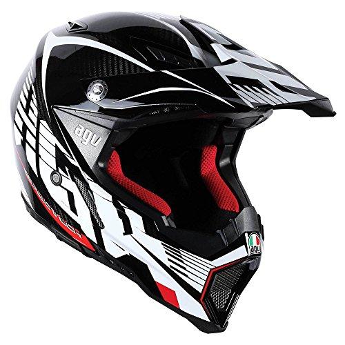AGV AX-8 Evo Helmet (Carbon/White/Red, Small)