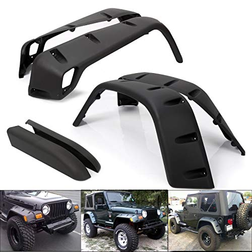 T-Foot Pocket Extended Fender Flares Kit for 97-06 Jeep Wrangler TJ 7″ Wide Black 6PCS