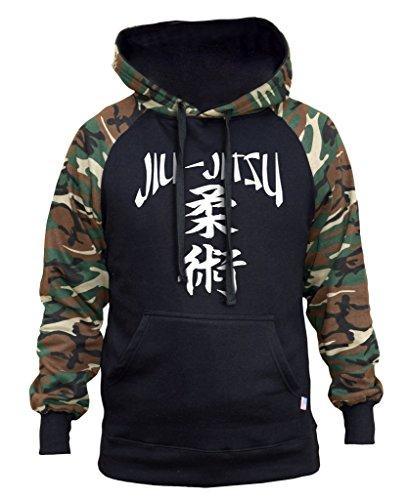 Men's Japanese Jiu Jitsu Black/Camo Raglan Baseball Hoodie Medium Black (Japanese Camo)