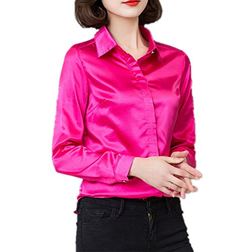 (YOUMU Women Satin Silk Long Sleeve Button-Down Shirt Formal Work Silky Blouse Top (S(US XXS) Bust: 33.86