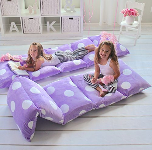 GIRL'S FLOOR LOUNGER SEATS COVER AND PILLOW COVER MADE OF SUPER SOFT, LUXURIOUS PREMIUM PLUSH FABRIC - PERFECT READING AND WATCHING TV CUSHION - GREAT FOR SLEEPOVERS AND SLUMBER PARTIES (Chair Childrens Bed)