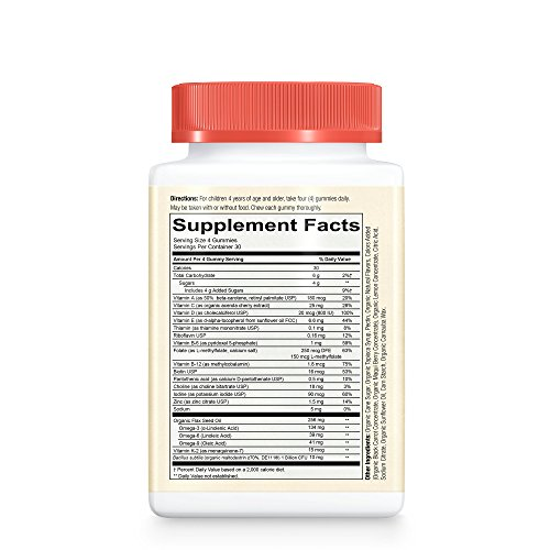 SmartyPants Vegetarian Organic Kids Daily Gummy Vitamins: Multivitamin, Gluten Free, Non-GMO, Omega-3, Probiotic, Vitamin D3, Methylcobalamin B12, Zinc; 120 Count (30 Day Supply) by SmartyPants Vitamins (Image #2)