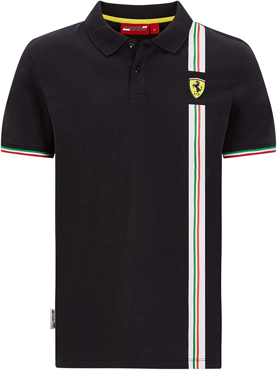 Ferrari Scuderia F1 Mens Italian Flag Polo Black//Red
