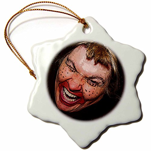 3dRose Jos Fauxtographee Realistic - Lady Dressed Up Like Ugly Clown for Halloween With Her Face Very Animated, Silly and Scary - 3 inch Snowflake Porcelain Ornament (orn_49539_1) -