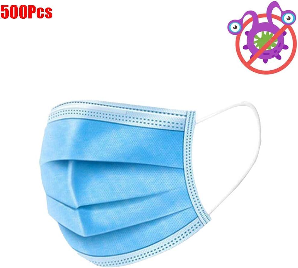 500Pcs Protector facial de 3 capas desechables, filtros faciales antipolvo azul a prueba de polvo, protección saludable del aire, bucles para los oídos, médico - esteticista enfermera dentista uso