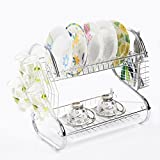 2 Tiers Kitchen Dish Cup Drying Rack Drainer Dryer Tray Cutlery Holder Organizer by westernb2k