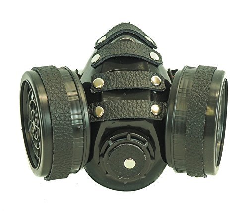 Steampunk Black Leather Real Gas Mask Dual Filter Respirator Haloween Party Cosplay -