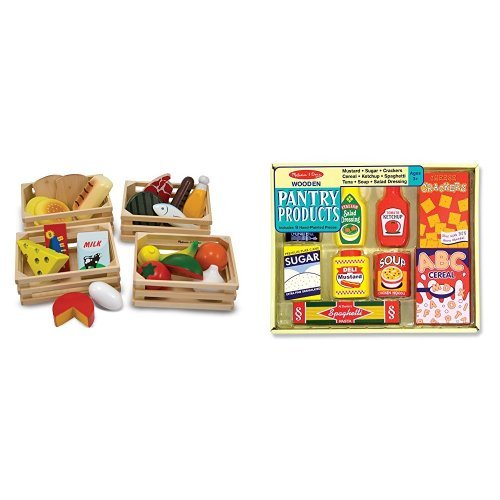 Melissa & Doug Food Groups and Melissa & Doug Wooden Pantry Products Bundle