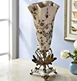 European Porcelain Copper Vase Flower Home Office Decor Hand Made and Hand Engraved ( Height: 23.5 inches )