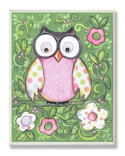 The-Kids-Room-by-Stupell-Polka-Dot-Owl-with-Green-Floral-Background-Rectangle-Wall-Plaque