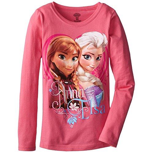 Disney Little Girls' Frozen Anna and Elsa T-Shirt, Light Pink, 5/6 - Continental Girls T-shirt