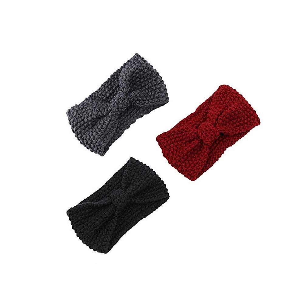 WUAI 3pcs Womens Winter Knitted Headband Elastic Crochet Ear Warmers Hair Band Ear Muffs(C,Free Size)