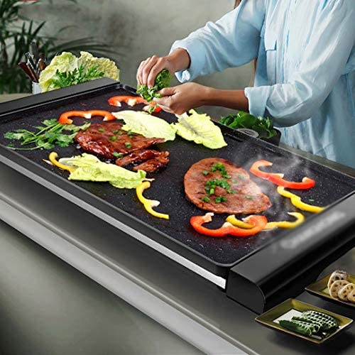 GQF Plaque de Cuisson électrique Teppanyaki antiadhésive Poêle à Griller Haute Puissance 1500W Facile à Nettoyer et à température réglable Barbecue Portable intérieur, Noir Grand