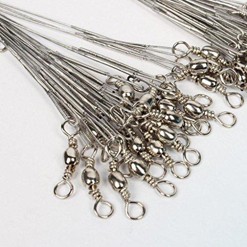 Fishing Wire Leader, GOTD 60pcs Lot Silver 8kg/10kg/12kg Saltwater Stianless Line Wire Leader Fishing Tools (Silver 60PCS)