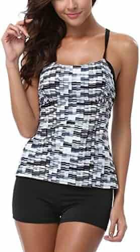 7e681844361b0 CharmLeaks Womens Solid Geo Printed Tankini Two Piece Tankini Top Swimwear  Set