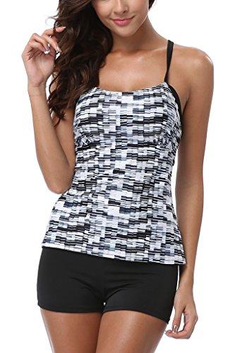 Swimsuit Tankini Shelf Bra (Charmleaks Women's Solid Geo Printed Tankini Two Piece Tankini Top Swimwear Set - Medium - Geometric(Fulfilled by Amazon))
