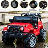SuxiDi Jeep XR Electric Ride On Car One Seat with Remote Control for Kids   12V Power Battery Kid Car to Drive with 2 Motors, 2.4G Radio Parental Control, Openable Door, EVA Wheel (Red)