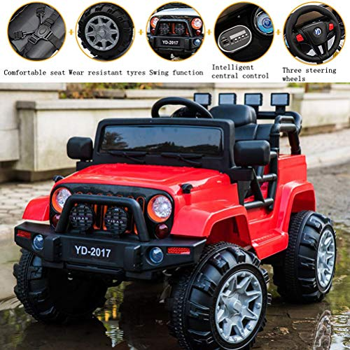 SuxiDi Jeep XR Electric Ride On Car 2 Seats with Remote Control for Kids | 12V Power Battery Kid Car to Drive with 4 Motors, 2.4G Radio Parental Control, Openable Door, EVA Wheel (Red) ()