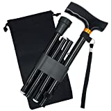 YAMTHR Folding Cane, Walking Cane for Men, Women, Portable Walking Stick Balancing Mobility Aid, Adjustable,Collapsible, Lightweight, Comfortable T Handles (Black)