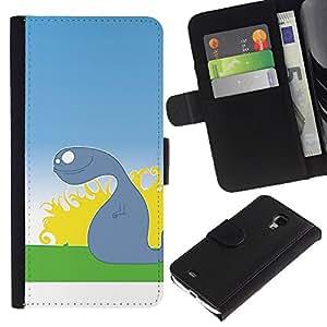 KLONGSHOP // Tirón de la caja Cartera de cuero con ranuras para tarjetas - Mudanza Ghost - Samsung Galaxy S4 Mini i9190 //