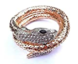 Golden Coiled Snake Wrap Bracelet w/Clear Glass Stones asp boa Cuff Coil Egyptian