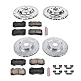 Power Stop K4023 Front & Rear Brake Kit with Drilled/Slotted Brake Rotors and Z23 Evolution Ceramic Brake Pads
