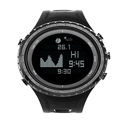 Waterproof Watch Black Thermometer Pedometer Wristwatches