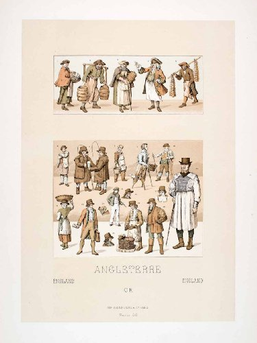 Unique Occupation Costumes (1888 Chromolithograph 18th Century England Costume Merchant Historic Occupations - Original Chromolithograph)