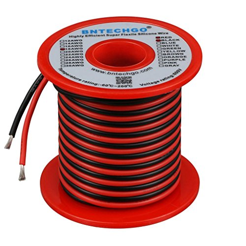 BNTECHGO 18 Gauge Silicone Wire Spool 50 feet Ultra Flexible High Temp 200 deg C 600V 18 AWG Silicone Wire 150 Strands of Tinned Copper Wire 25 ft Black and 25 ft Red Stranded Wire for Model Battery by BNTECHGO (Image #2)
