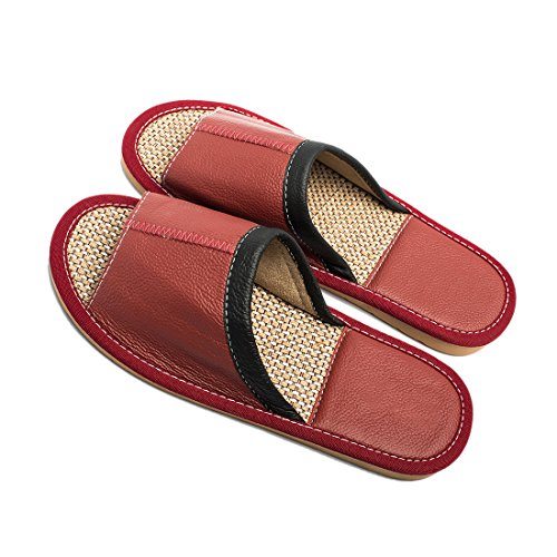 Maylian Home Indoor Wine Sandal Slippers Flat Slide Summer Leather for Red Women RRB64g