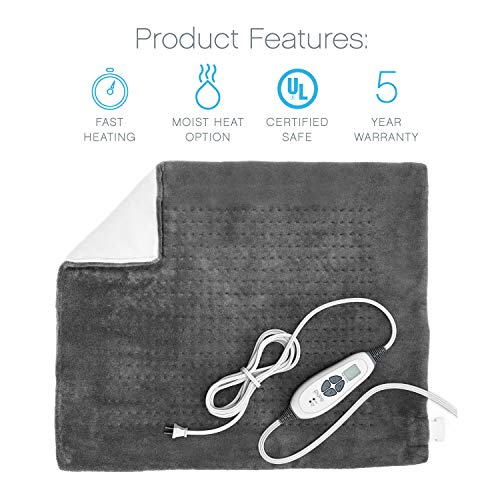 Pure Enrichment PureRelief XXL Ultra-Wide Microplush Heating Pad  with Convenient Storage Bag, Charcoal Gray