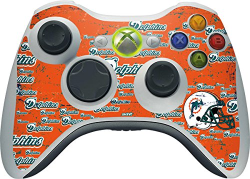 (Skinit NFL Miami Dolphins Xbox 360 Wireless Controller Skin - Miami Dolphins - Blast Design - Ultra Thin, Lightweight Vinyl Decal Protection)