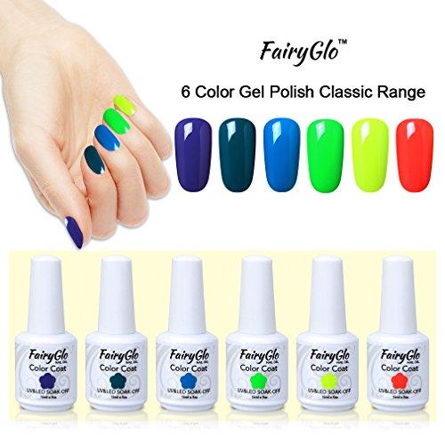 Nail Polish UV LED Soak Off Gel Nail Art Decals Gift Set 6PCS FairyGlo 15ml 010 - Professional Decal Set