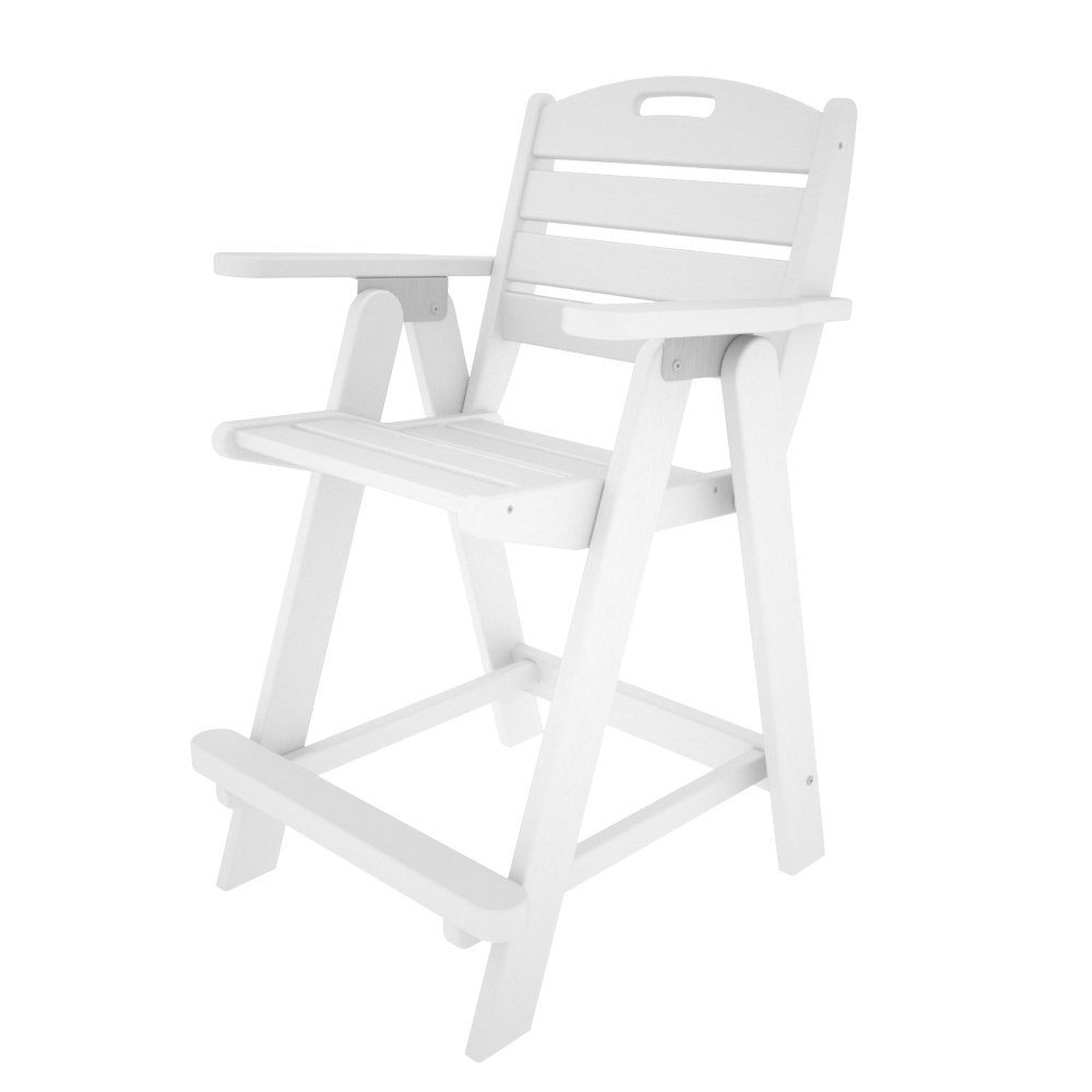 POLYWOOD NCB40WH Nautical Counter Chair, White