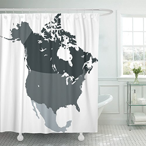 Emvency Shower Curtain Black Mexico North America Map Canada USA Waterproof Polyester Fabric 78 x 72 inches Set with Hooks -