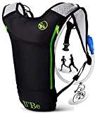 U`Be Hydration Pack Water Backpack - Kids Women Men Camelback - Hiking Biking Running Bag with 2L Bladder (Green Runner)