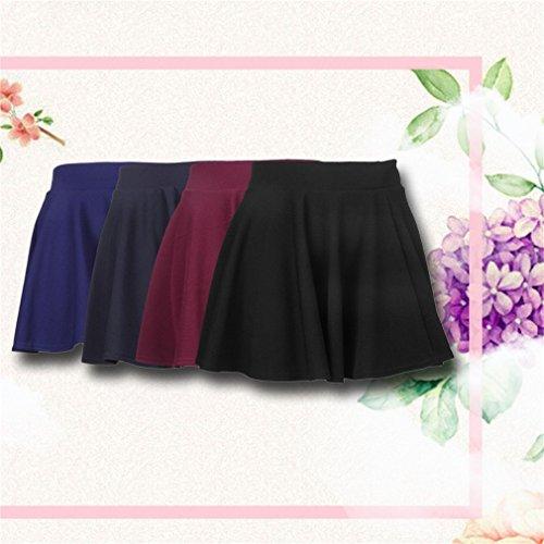 Mini Taille pour Mode Uni lastique Patineuse Femme Sungpunet Jupe pliss vase tR0wqq