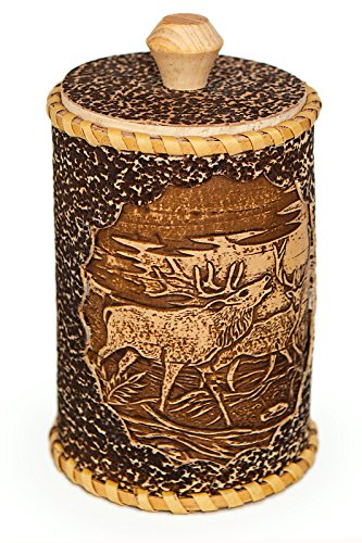 Red Deer Birch Bark Wooden Container. Pyrography Wicker Artwork. Great Jar for Kitchen or Household.