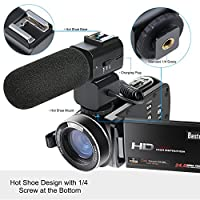 Camera Camcorder, Besteker Remote Control WiFi Video Camcorders, Full HD 1080P 24MP 30FPS Portable Digital Recorder with External Microphone by Besteker