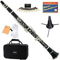 Mendini MCT-E + SD + PB Clarinete plano Ebonite B negro con estuche, soporte, bolsillo, boquilla, 10 cañas y más