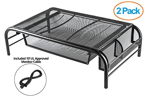 Drawer Riser (Halter Mesh Metal Monitor Stand/Riser with Pull Out Drawer and Side Compartments (2 Pack) 10' UL Approved Power Cable, 21.8