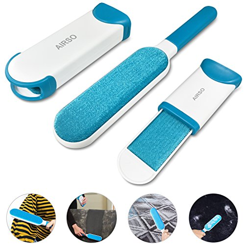 Lint Remover Brush, AIRSO Reusable Pet Dog Hair Remover with Self-Cleaning Base and Travel Size Double Side Fur Brush Removes Dog & Cat Hair from Clothes & Furniture