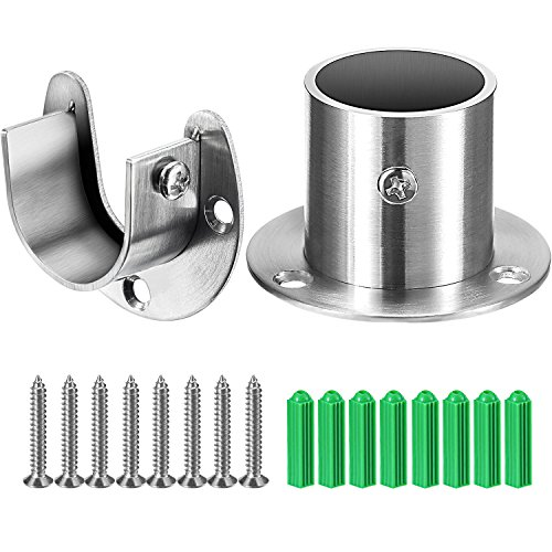 Closet Rod Flanges - Hestya 1-1/3 Inches Diameter Stainless Steel Closet Pole Sockets Rod Socket Flange Set Rob Support Flange Holder Set