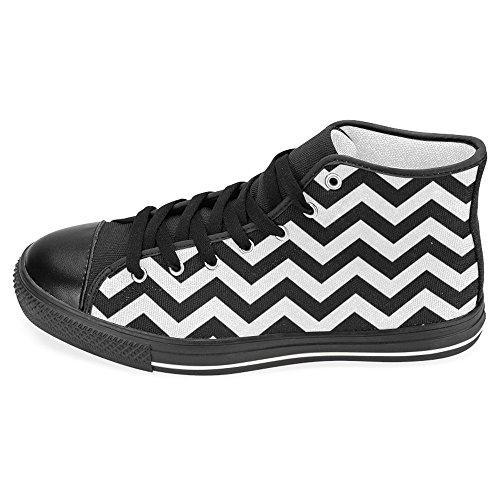 Scarpe Da Donna Casual High Top Classico Casual Tela Scarpe Da Ginnastica Stringate Sneakers Nero Bianco